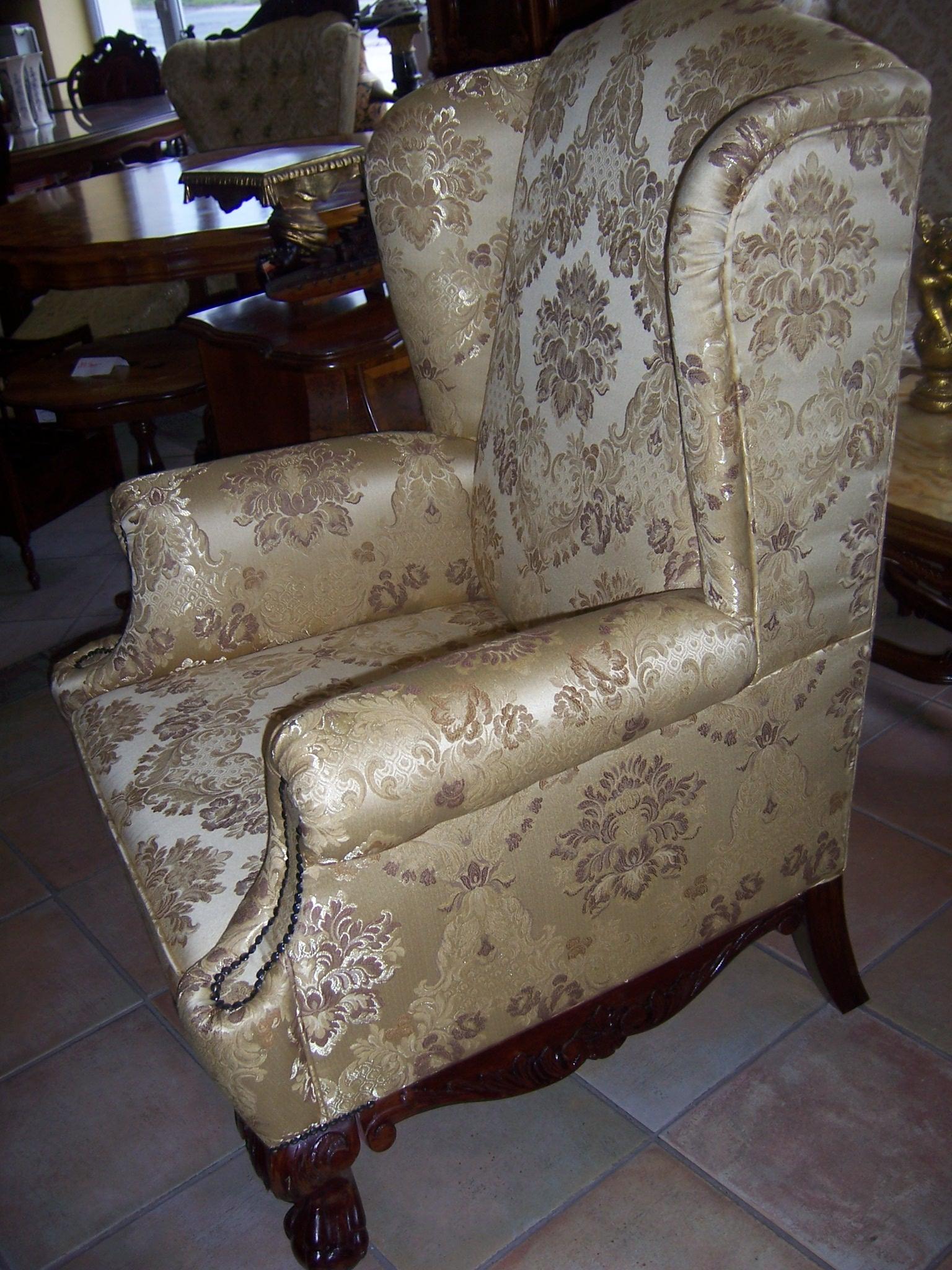 Barokk füles fotel Bőr füles fotel Kézi faragású füles fotel 70802d4ccc